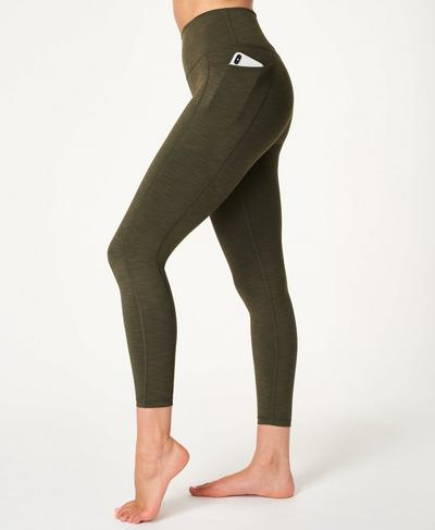 Super Sculpt High Waisted 7/8 Yoga Leggings, Dark Forest Green | Sweaty Betty
