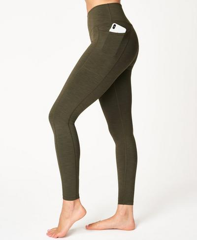 Super Sculpt High-Waisted Yoga Leggings, Dark Forest Green | Sweaty Betty