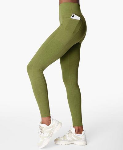 Hochgeschnittene Super Sculpt Yogaleggings, Fern Green | Sweaty Betty