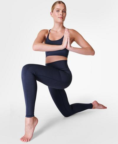 Super Sculpt Yogaleggings mit hohem Bund, Navy Blue | Sweaty Betty