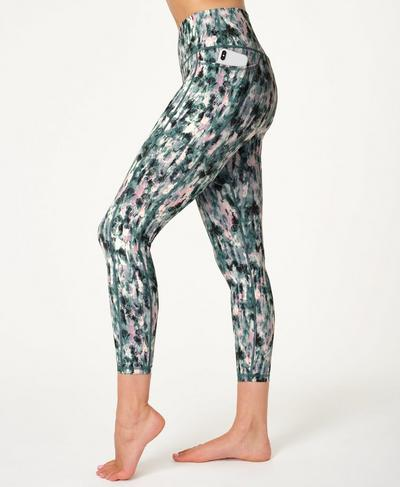 Super Sculpt Sustainable High Waisted 7/8 Yoga Leggings, Blue Xray Floral Print | Sweaty Betty