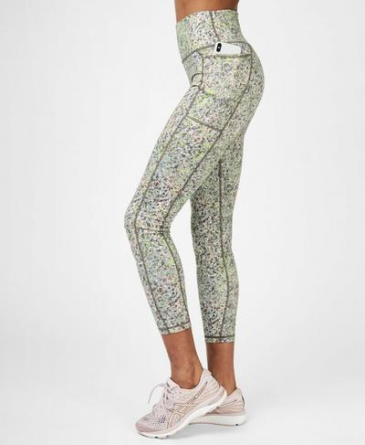 Super Sculpt Soft High Waisted 7/8 Yoga Leggings, Green Alert Pebble Print | Sweaty Betty