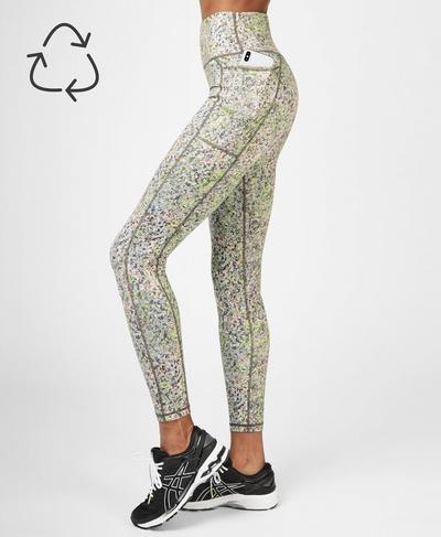 Super Sculpt Soft High Waisted Yoga Leggings, Green Alert Pebble Print | Sweaty Betty