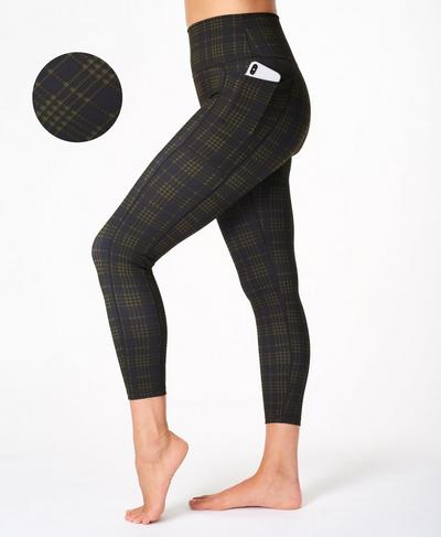 Super Sculpt Soft High Waisted 7/8 Yoga Leggings, Green Check Print | Sweaty Betty