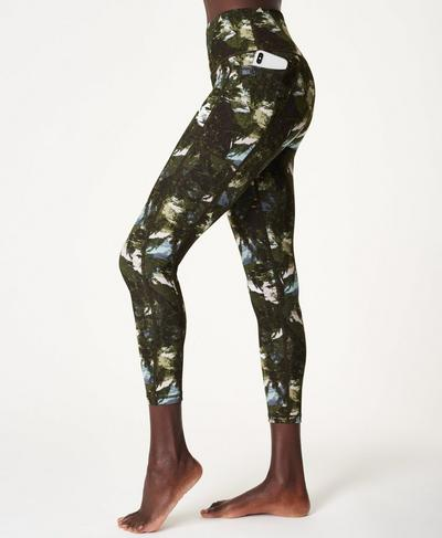 Super Sculpt Soft High Waisted 7/8 Yoga Leggings, Green Scene Print | Sweaty Betty
