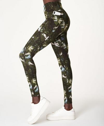 Super Sculpt Sustainable High Waisted Yoga Leggings, Green Scene Print | Sweaty Betty
