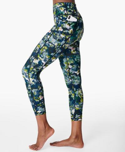 Hochgeschnittene nachhaltige Super Sculpt Yogaleggings in 7/8-Länge, Green Spring Floral Print | Sweaty Betty