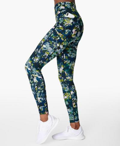 Super Sculpt Sustainable High-Waisted Yoga Leggings, Green Spring Floral Print | Sweaty Betty