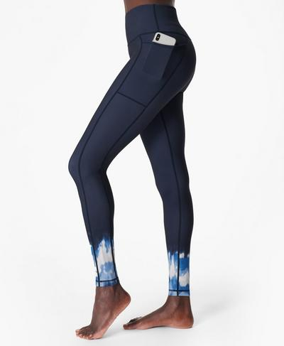 Super Sculpt Sustainable High-Waisted Yoga Leggings, Navy Blue Ink Print | Sweaty Betty