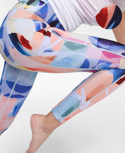 Super Sculpt Sustainable Yoga Leggings , Pink Art Print | Sweaty Betty