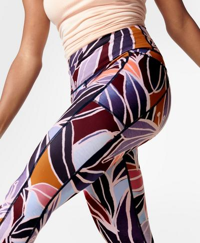 Super Sculpt Sustainable High-Waisted Yoga Leggings, Pink Drift Floral Print | Sweaty Betty