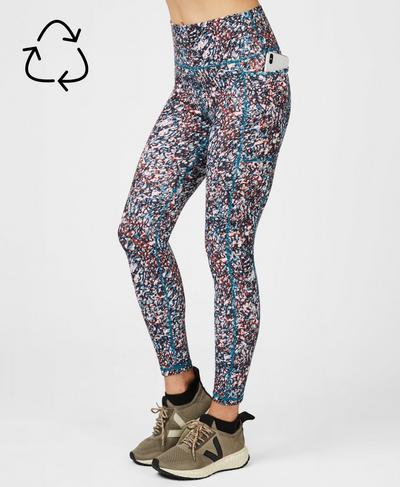 Super Sculpt Soft High Waisted Yoga Leggings, Pink Pebble Print | Sweaty Betty