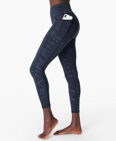 Super Sculpt High Waisted 7/8 Yoga Leggings, Navy Wave Emboss Print | Sweaty Betty