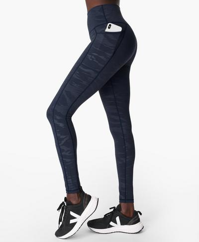 Super Sculpt High-Waisted Yoga Leggings, Navy Wave Emboss Print | Sweaty Betty