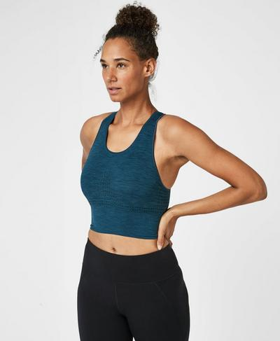Stamina Longline Sports Bra, Beetle Blue | Sweaty Betty
