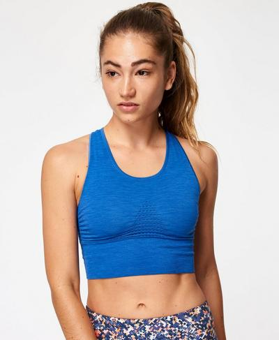 Stamina Longline Sports Bra, Blue Quartz | Sweaty Betty