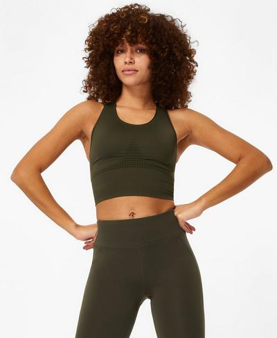 Stamina Longline Sports Bra, Dark Forest A | Sweaty Betty