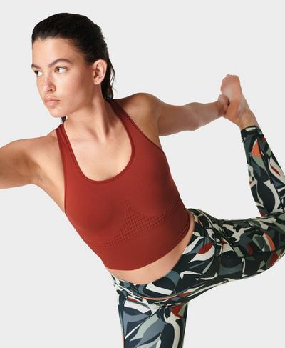 Stamina Longline Workout Bra , Falu Red | Sweaty Betty