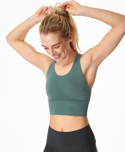 Stamina Longline Sports Bra, Tile Green | Sweaty Betty