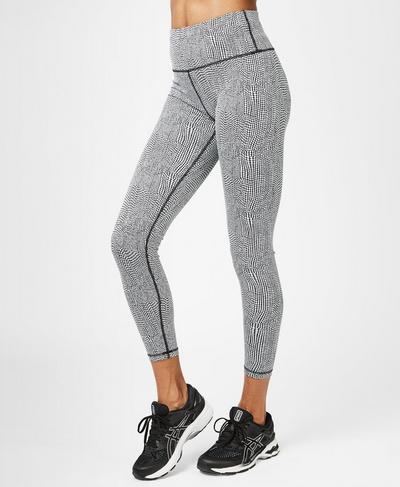 Flatter Me Jacquard 7/8 Workout Leggings, Black White Croc Jacquard | Sweaty Betty