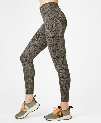 Flatter Me Jacquard 7/8 Workout Leggings, Dark Taupe Leopard | Sweaty Betty