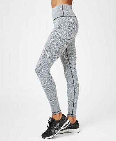 Flatter Me Jacquard Workout Leggings, Black White Croc Jacquard | Sweaty Betty