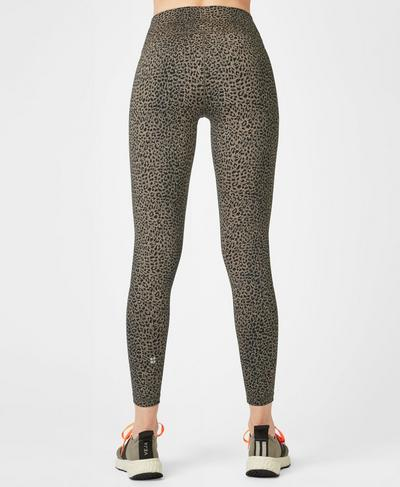 Flatter Me Jacquard 7/8 Gym Leggings, Dark Taupe Leopard | Sweaty Betty