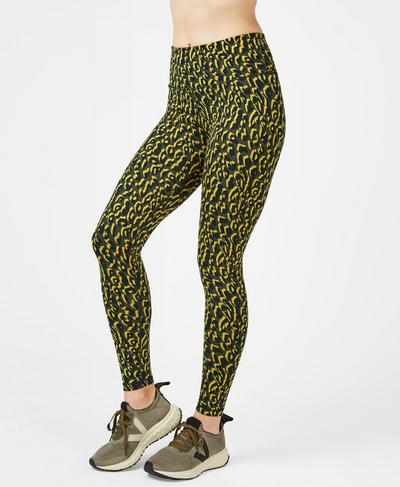 Flatter Me Jacquard Workout Leggings, Turmeric Yellow Leopard | Sweaty Betty