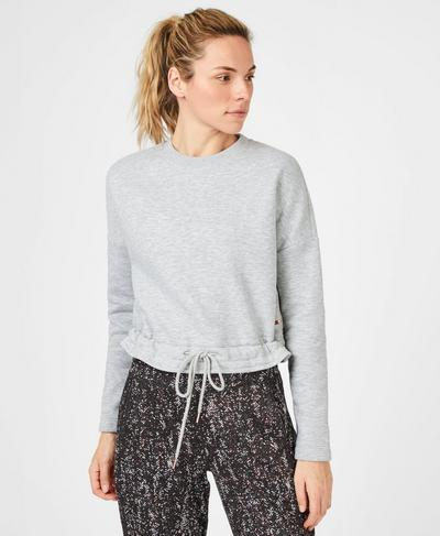 Tie Hem Crop Sweatshirt, Light Grey Marl | Sweaty Betty