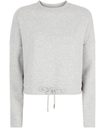 Tie Hem Crop Sweatshirt, Light Grey Marl   Sweaty Betty