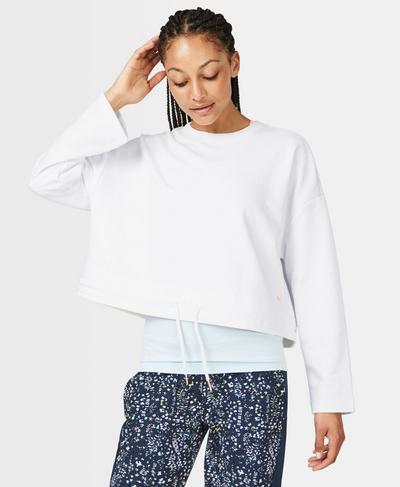 Tie Hem Crop Sweatshirt, White | Sweaty Betty