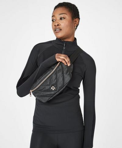 Icon Quilted Bum Bag, Black | Sweaty Betty