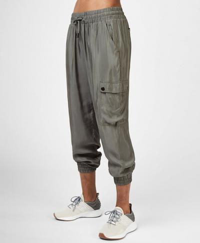 Cargo 7/8 Trousers, Sage Green | Sweaty Betty