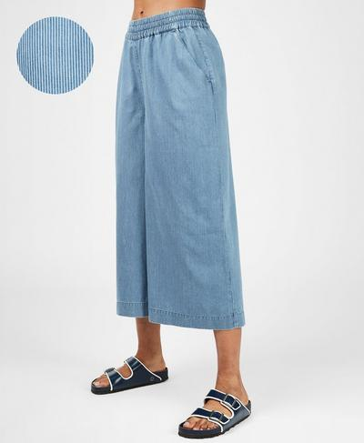 Dusk Wide Leg Culotte, Blue Chambray Stripe | Sweaty Betty