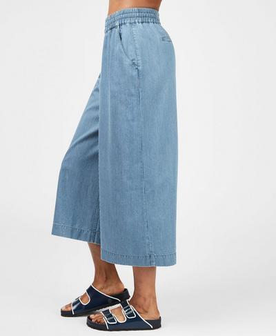 Dusk Wide Leg Culotte, Blue Chambray Stripe   Sweaty Betty
