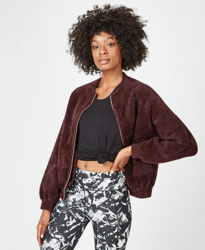 Soft Furry Bomber, Black Cherry | Sweaty Betty