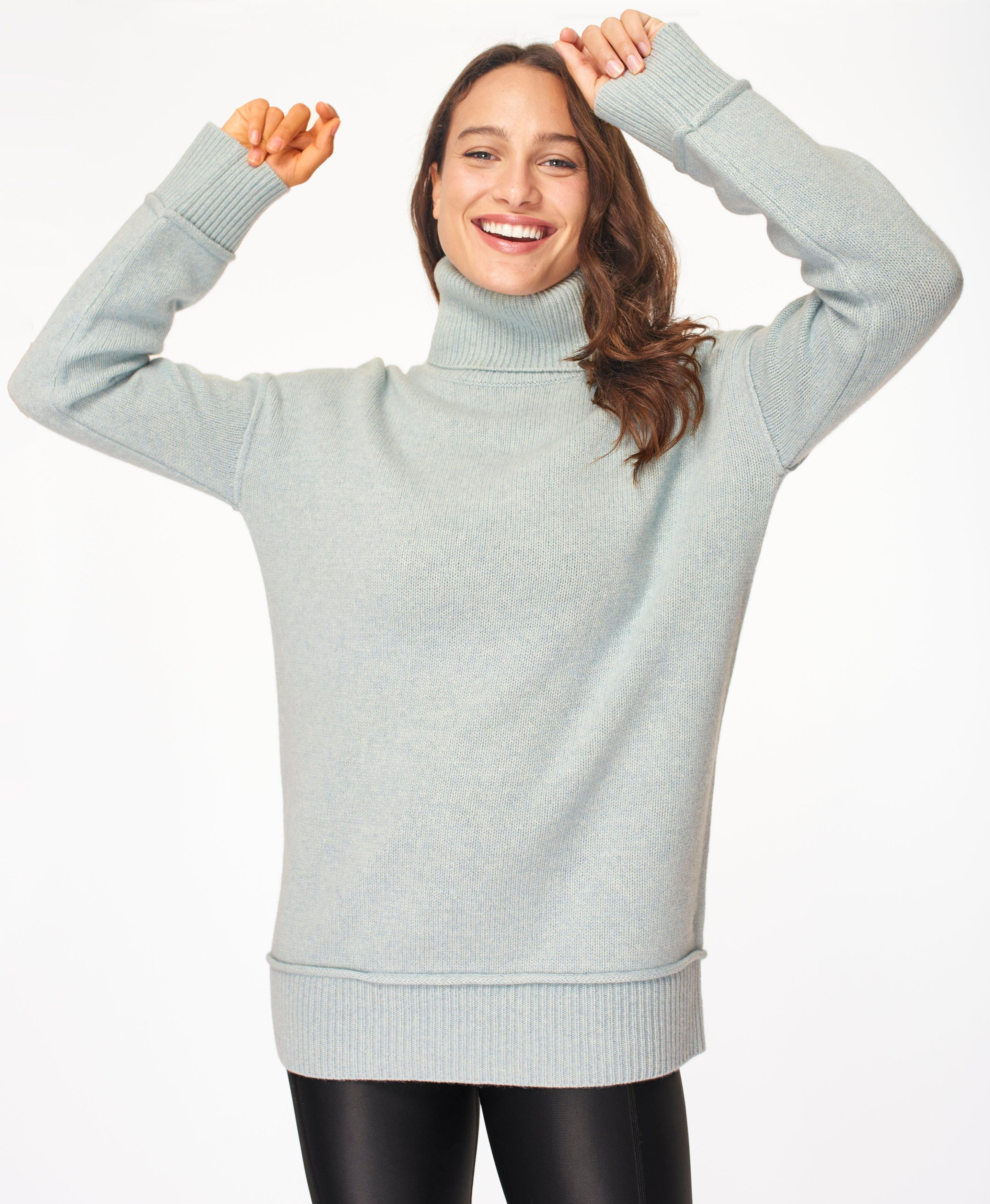 Elevate Mountain Wool Turtleneck Sweater, Air Blue | Sweaty Betty