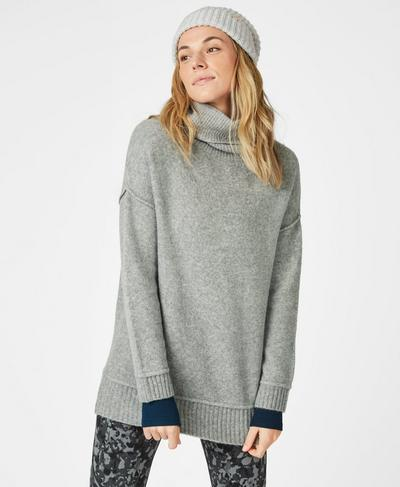 Shoreditch Sweater, Light Grey Marl | Sweaty Betty
