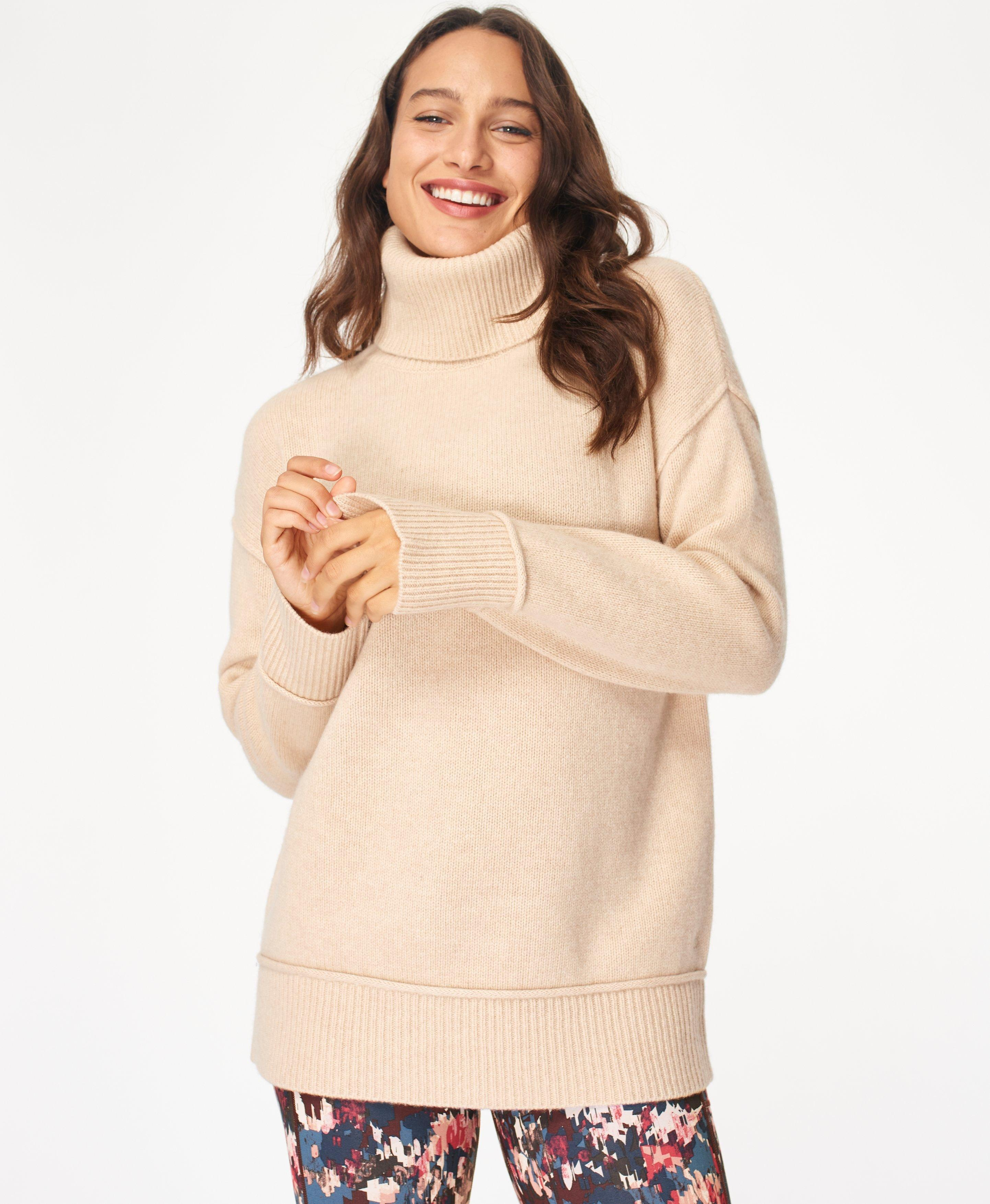 Elevate Mountain Wool Turtleneck Jumper, Lily White | Sweaty Betty