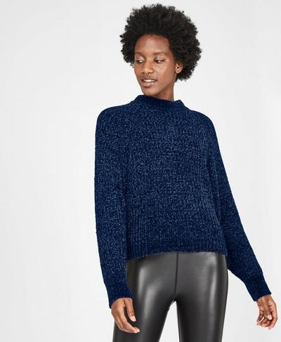 Lita Chenille Crewneck Sweater, Beetle Blue Marl | Sweaty Betty