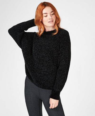 Lita Chenille Crewneck Sweater, Black | Sweaty Betty