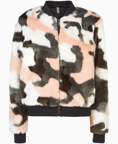 Malabar Faux Fur Bomber Jacket, Dark Forest Green Camo Print | Sweaty Betty