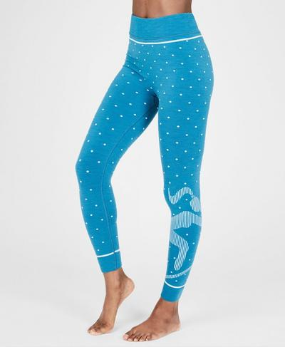 Freestyle Merino Skiunterwäsche Leggings, Ski Jumper Blue Jacquard | Sweaty Betty