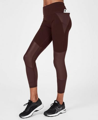 Power Shine Mesh 7/8 Workout Leggings, Black Cherry | Sweaty Betty