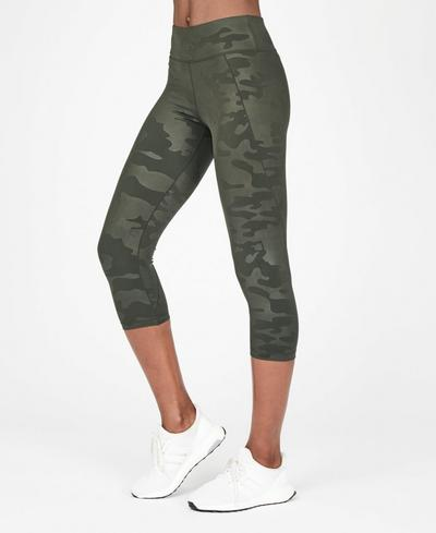Contour Embossed Cropped Workout Leggings, Dark Forest Green | Sweaty Betty