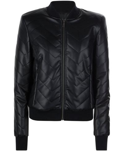 Falcon Leather Look Bomber Jacket, Black | Sweaty Betty
