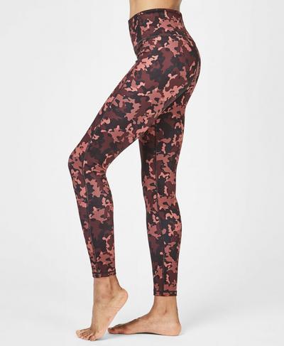 Super Sculpt Soft High Waisted Yoga Leggings, Rust Camo | Sweaty Betty