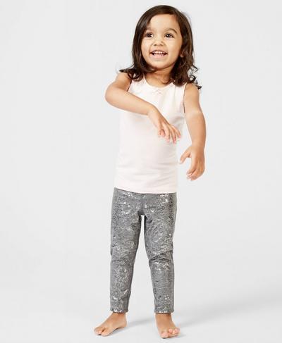 Baby Disco Foil Leggings, Gunmetal Glitter Print | Sweaty Betty