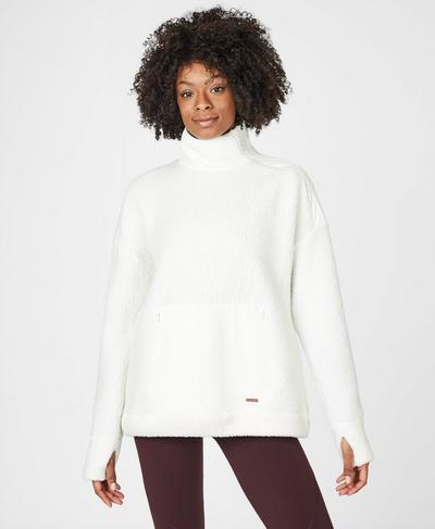 Venture Sherpa Running Pullover, Lily White | Sweaty Betty
