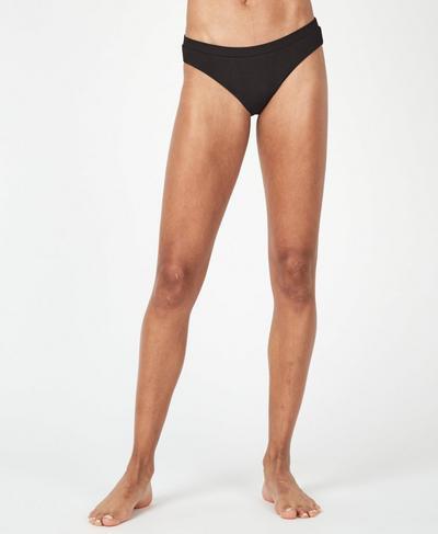 Rib Bikini Bottoms, Black   Sweaty Betty